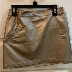 Gold leather miniskirt